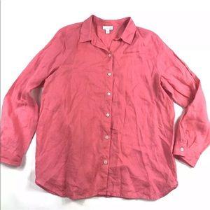 J Jill Love Linen Blouse Medium Pink Button Front